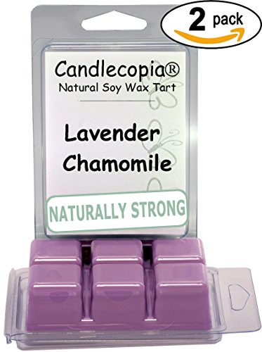 Candlecopia Lavender Chamomile Strongly Scented Hand Poured Vegan Wax Melts, 12 Scented Wax Cubes, 6.4 Ounces in 2 x 6-Packs (Lavender Tart)