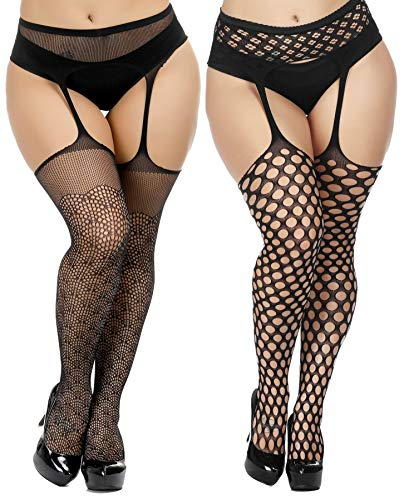 TGD Womens Plus Size Stockings Suspender Pantyhose Fishnet Tights Black Thigh High Stocking 2Pairs Size(US 8-16) (Black 7393)