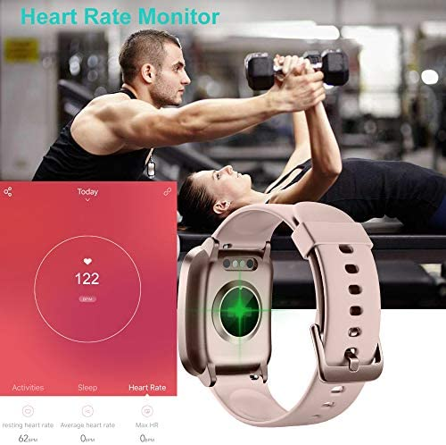 Willful Smart Watch for Men Women 2020 Version IP68 Waterproof, Fitness Tracker Heart Rate Monitor Sport Digital Watch, Smartwatch for Android Phones and iOS Phones Compatible iPhone Samsung (Pink) 515NCPsHR5L