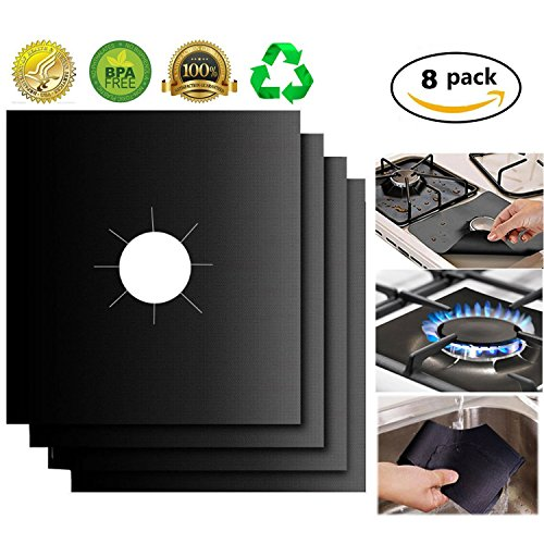 """Gas Range Protectors Little World 8 pack Reusable Stove Burner Covers Cuttable No n-Stick Stovetop Burner Liners with FDA approved Double Thickness Dishwasher Safe for Kitchen Cooking 10.6"""" x 10.6"""""""
