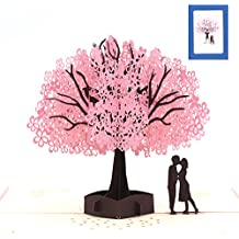 Anniversary Gifts For Her,Hasiben Cherry Blossom Lovers Pop Up Card,3D Card,Greeting Card,Birthday Card,Valentine's Day Card,Wedding Card(2018 NEW)