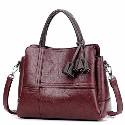Oxblood Wristlet Vintage Leather Small PU Clutch Shoulder Bags MSZYZ Women's Shoulder Soft Casual with Body Capacity Pockets Shoulder Cross Large red Many xqWfxRYE