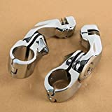 32mm Chrome Short Angled Adjustable Highway Peg Mount Kit For Harley Davidson