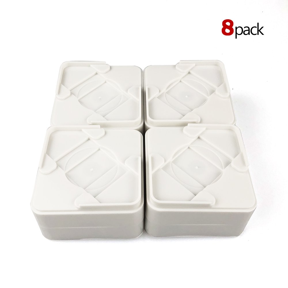 MIIX HOME Durable & Stackable Bed Risers Table Risers or Furniture Risers 8 pack/1 inch or 2 inch Hight/Underbed Lift, Adjustable Heights(White)