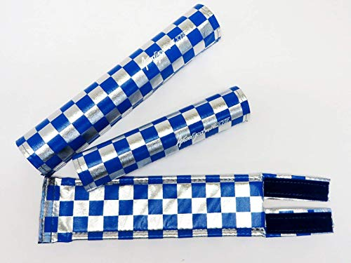 Flite Anodized Checkers BMX Pad Set (Blue/Chrome)