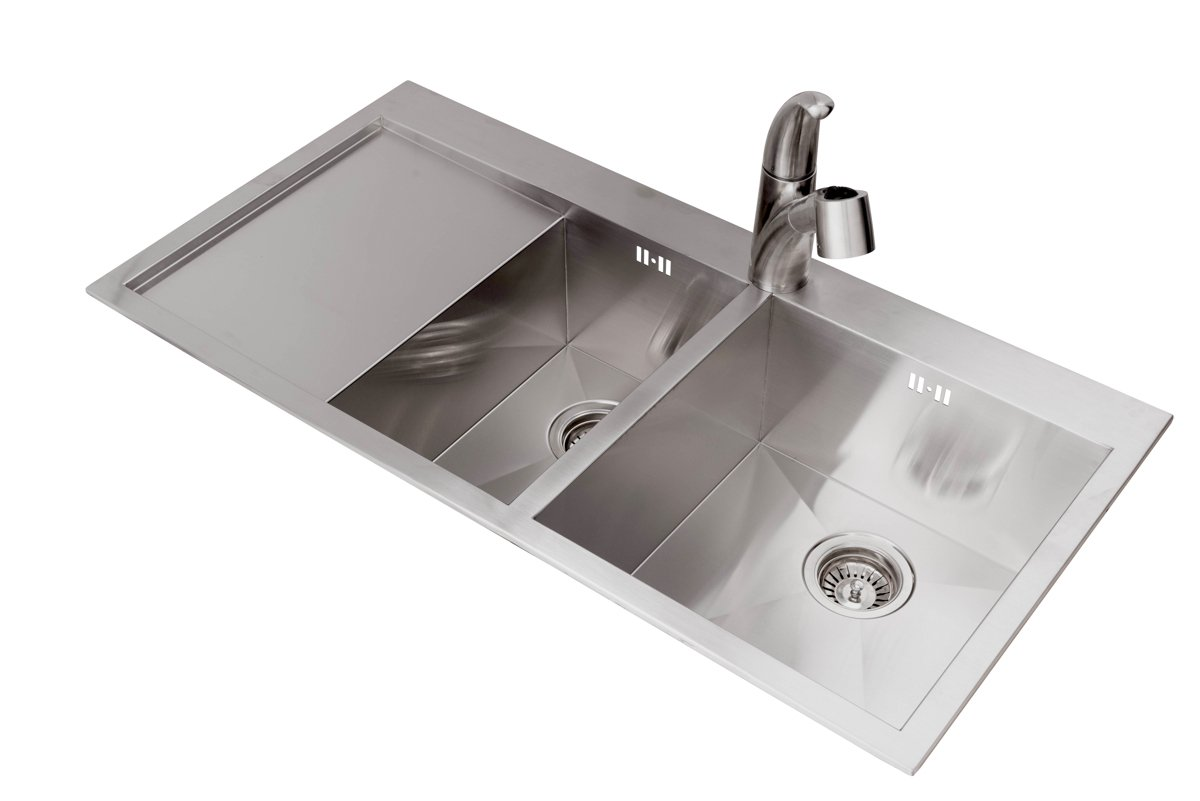 Valle quebec 1000 x 510mm left hand 1 5 bowl kitchen sink stainless steel amazon co uk diy tools