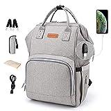 Diaper Bag Backpack Nappy Bags Waterproof Mommy Bag Travel Baby Nursing Multifunction Backpack (Grey)