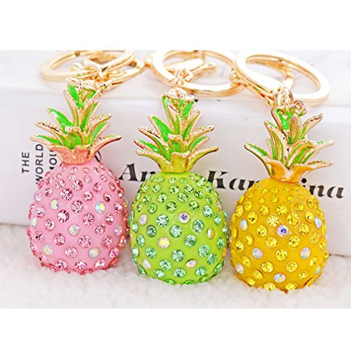 Cute Key Chain Shiny Crystal Pineapple Key Ring Mini Bag Decoration for Girls and Women(Pink) by leomoste (Image #7)