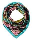 Large Square Satin Silk Like Lightweight Scarfs Hair Sleeping Wraps for Women Pink Turquoise Camellia Floral Flower Pattern