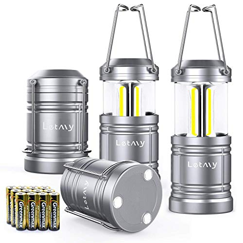 LETMY 4 Pack Camping Lantern with 12 AA Batteries - Magnetic Base - New COB LED Technology Emits 500 Lumens - Collapsible, Waterproof, Shockproof LED Lantern with Detachable Handles