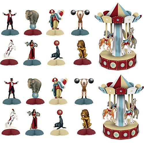 Vintage Circus Party Decorations, 16 Mini Centerpieces, 2 10