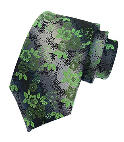 Embroidered Paisley Shirt - Secdtie Mens Bright Green Silver Black Tie Woven Silk Microfiber Paisley Necktie
