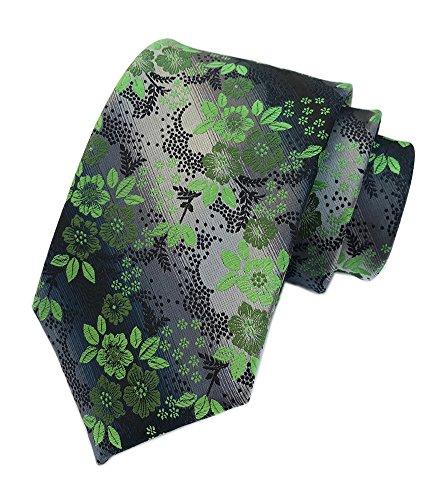 Funny Microfiber Necktie - Secdtie Mens Bright Green Silver Black Tie Woven Silk Microfiber Paisley Necktie