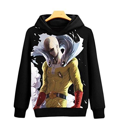 Rain's Pan Anime One Punch Man Saitama Cosplay Costume Fleece Hoodies Sweatshirts Coat Unisex Teens (US L=Asia XXL, (Costume Fleece Hoodie)
