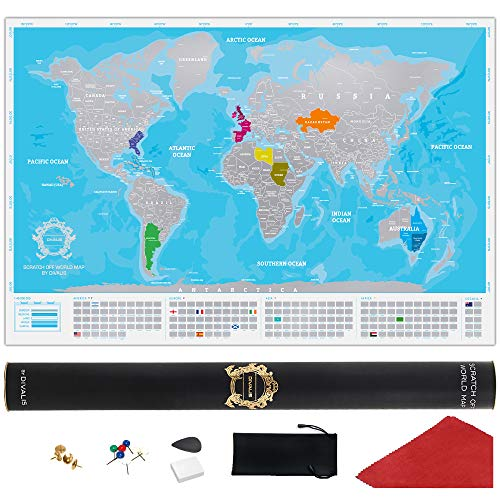 Blue Scratch Off World Map Poster - Extra Large Blue and Silver Scratchable Map - Premium Travel World Map - Best XL Globetrotter Map Gift - Laminated Scratch Off Map of The World