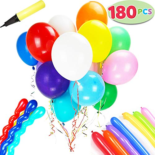 180 Pieces Party 12 Inches Balloons Assorted Color Latex Balloons 3 Style with Hand Held Air Pump and 8 colors of Crimped Curling Ribbons