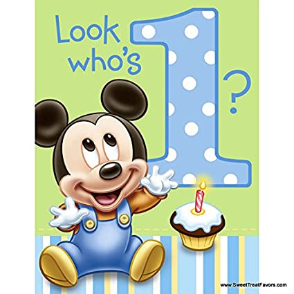 Amazing Mickey Mouse Baby 1St Birthday Edible Icing Image Cake Topper Personalised Birthday Cards Sponlily Jamesorg