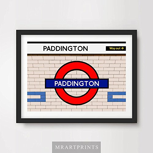 LONDON UNDERGROUND PADDINGTON ART PRINT POSTER Tube Station Sign Train Railway British Urban City Metro Subway Decor A4 A3 A2 (10 Size (Metro Sign)