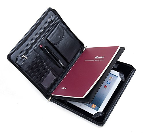 - Deluxe Leather 10.5-inch / 11-inch iPad Business Portfolio, Padfolio Case Business Zippered Organizer Document Folder with Letter Size Notepad Holder