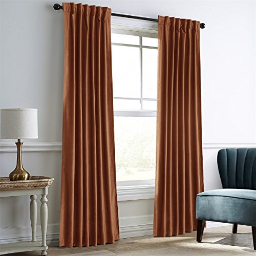 Dreaming Casa Darkening Amber Gold Velvet Curtains for Living Room,Thermal Insulated Rod Pocket/Back Tab Window Curtain for Bedroom(2 Top Construction Combination,52