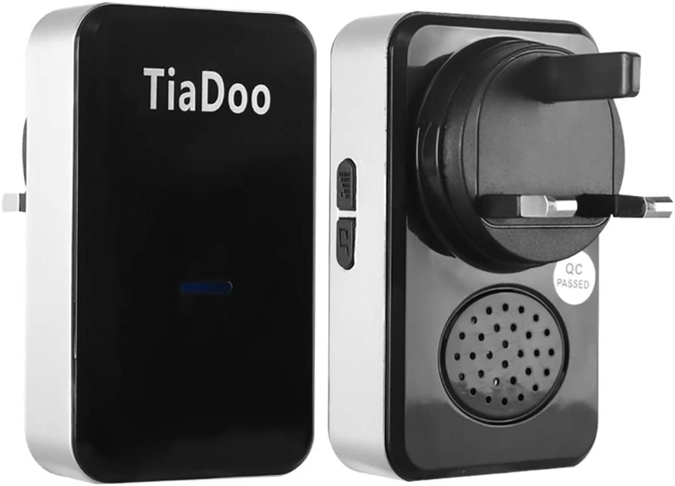45 Chimes TiaDoo Loud Door Bell with 2 Plug in Receivers and 1 Push Button 200m Wireless Range 4 Level Volume LED Flash Reminder Black IP44 Waterproof Cordless Door Chimes Wireless Doorbell