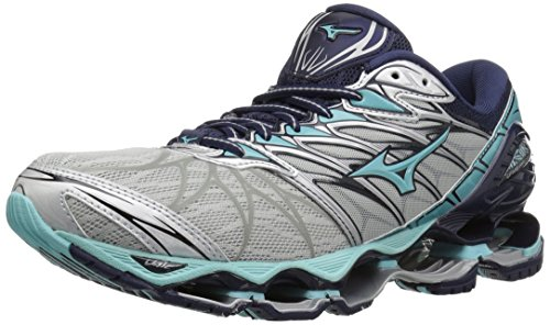 Mizuno Women's Wave Prophecy 7 Running Shoe, Silver/Aqua Splash, 8 B US