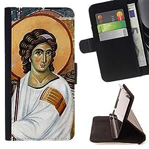 - Iconography Medieval God Christian - Estilo PU billetera de cuero del soporte del tir???¡¯???3n [solapa de cierre] Cubierta- For Samsung ALPHA G850 ( Devil Case )