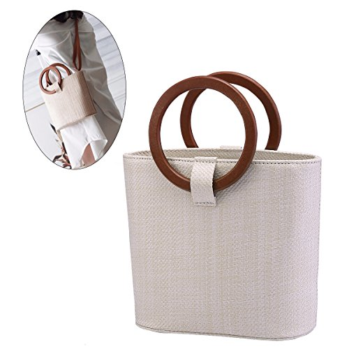 Purse Handle Rattan (JOSEKO Womens Straw Handbag Straw Shoulder Bag for Beach Travel and Everyday Use Off White 11.8