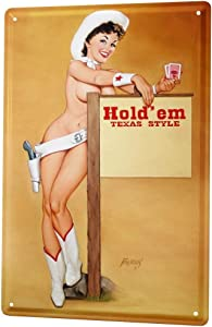 LEotiE SINCE 2004 Poker Texas Boots hat Tin Sign Metal Plate Decorative Sign Home Decor Plaques 20x30 cm Metal Shield Shield Wall Art Deco Decoration Retro Pinup Girl Advertising