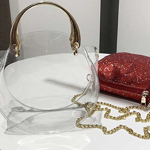 Red Lady New Bag Bag Bags Messenger Classic Plastic Handbags Wild Bag ZCM Crossbody Ladies Package Sequins Small Fashion Round UBwWq