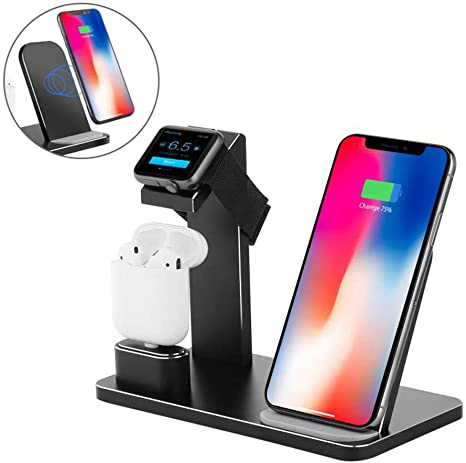 Zlc 3 In 1 Wireless Charger Compatible Charging Station Compatible Apple Watch Airpods Charging Station Storage Holder Compatible Iphone X 8 Plus 8 Airpods Apple Watch Series 3 2 1 Küche Haushalt