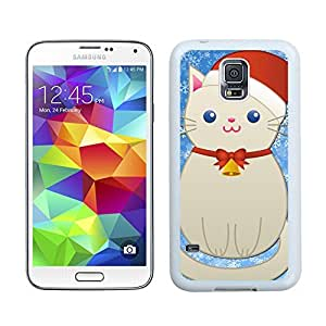Fantastic Design Cartoon Cute Christmas Snowman Cat Samsung Galaxy S5 White Silicone Case,Samsung I9600 Phone Case