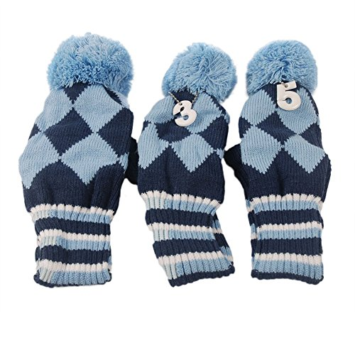 Review HIFROM(TM) 3pcs/set Golf Club Argyle Knit Head Covers Headcovers Vintange Pom Pom Sock Covers 1-3-5 for Driver & Woods Blue & Dark Blue
