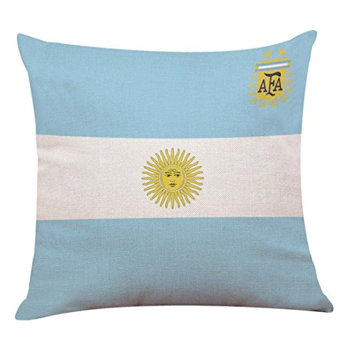 "Price comparison product image SANNYSIS 2018 Russia FIFA World Cup Soccer Pillow Covers Square Decorative Throw Pillow Cases for Women Men Outdoor Christmas Girls Adults Sleep 18 Pillow Cases 18"" X 18"" (Argentina)"