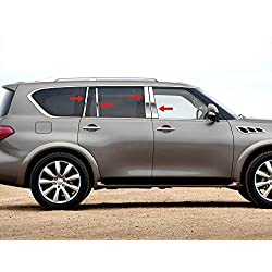 MAXMATE Made in USA! Works with 2011-2013 Infiniti QX56/2014-2017 QX80 8PC Stainless Steel Chrome Pillar Post Trim