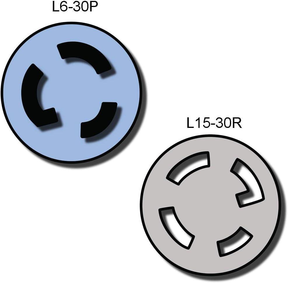 1 ft 10//3 AWG NEMA L6-30P to L15-30R Plug Adapter 1 Foot Iron Box # IBX-5167-01 30A//250V