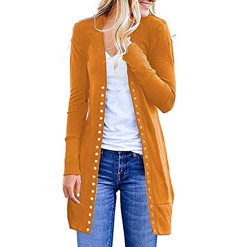◕‿◕Watere◕‿◕ Women's Coat,Women's S-3XL Solid Button Front Knitwears Long Sleeve Casual Cardigans Yellow (Aldo For Boots Women Rain)