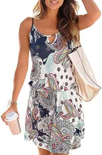 8304062e9cd Happy Sailed Women Halter Neck Boho Print Sleeveless Casual Mini Beachwear  Dress Sundress
