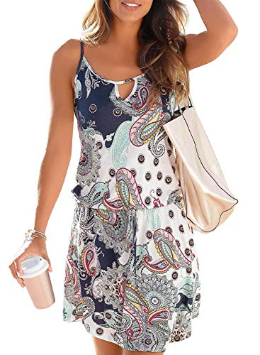 Happy Sailed Womens Coverups Dress Sleeveless Tribal Print Casual Strappy Mini Sundress X-Large White (Tribal Sleeveless Print)