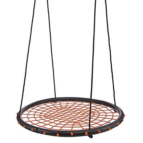 Orange Web - ANCHEER Round Web Swing, 40 inch Spinner Swing with Adjustable Rope, Great for Tree, Swing Set, Backyard, Playground, Playroom
