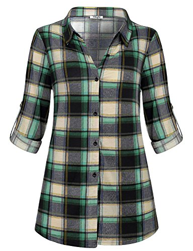 Boy Womens Light T-shirt (Hibelle Long Sleeve T Shirt Women Plaid, Ladies Boyfriend Lightweight Casual Wear Daily Classy Roll Up Glamour Knitted Buton Décor Novelty Collared Outdoor Tops Green Large)