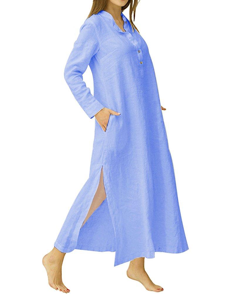 YOUBENGA Women's Plus Size Long Sleeve Cotton Linen Split Kaftan Maxi Dress Blue L