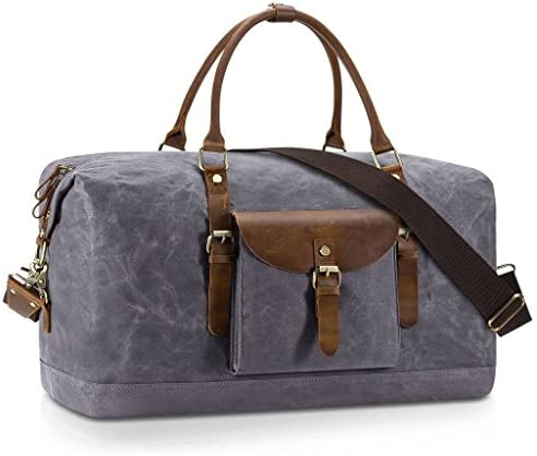 Plambag Oversized Duffel Bag, Water-repellent Canvas Leather Trim Overnight Luggage Bag Gray
