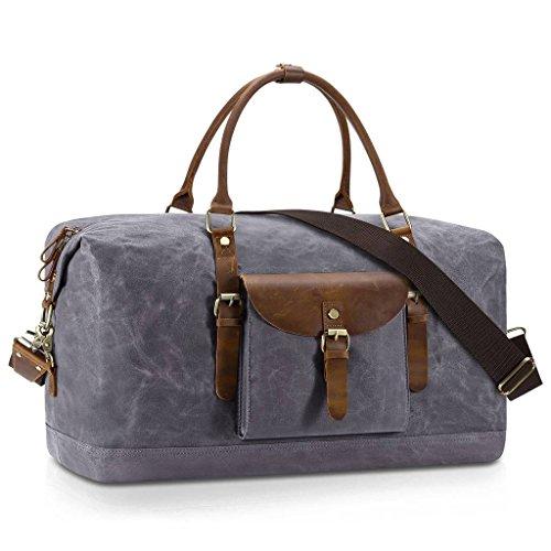 Plambag Oversized Duffel Bag, Waterproof Canvas Leather Trim Overnight Luggage Bag(Grey) by Plambag (Image #8)
