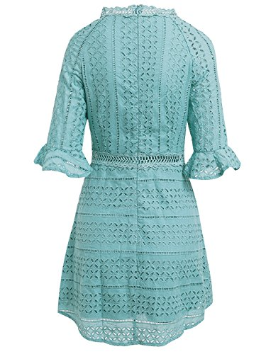Blue Party Simplee Gown Dress Women's A Hollow Line Sleeve Elegant Lace Mini Half Out nYBxqYSrOw
