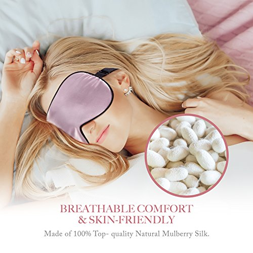 Eye Mask for Sleeping PaiTree Natural Silk Sleep Mask & Blindfold , Professionally-Made , Super-Smooth & Skin-Friendly Eye Shade Eye Cover for Sleeping For Woman - Pink