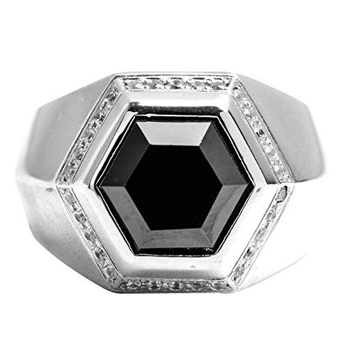 Beydodo Mens Silver Ring, Black Cubic Zirconia Hexagon Ring Size 10 Men Rings Hip Hop by Beydodo