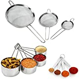 baking bowl sifter - Strainer Fine Mesh Set - Sifter Set - 11 Piece Set - Stainless Steel, Stackable, Measuring Cups and Spoons – Mesh Strainer Set by Colleta Home