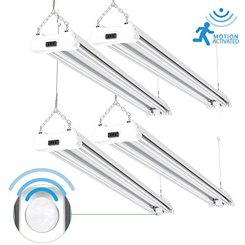 Sunco Lighting 4 Pack 4ft 48 Inch LED Utility Motion Sensor Shop Light 40W (260W EQ) 5000K Kelvin Daylight, 4000 Lumens, Double Integrated Linkable Ceiling Fixture, Clear Lens - Energy Star/ETL