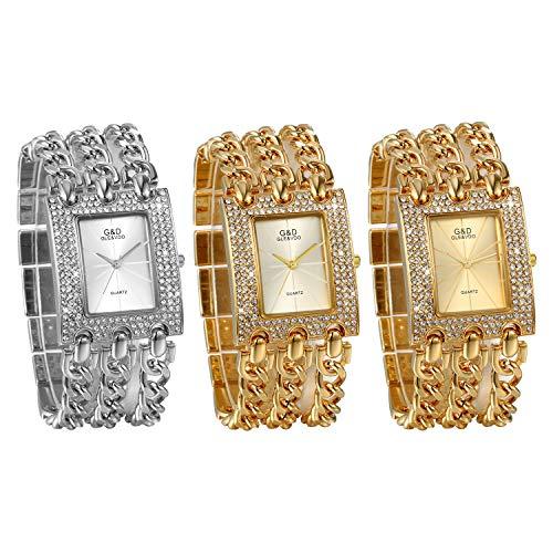 JewelryWe Womens Luxury Simple Square Dial Quartz Watch Rhinestone Gold Tone Case Chain Band Wrist Watch